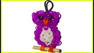 getlinkyoutube.com-Owl Charm With two forks without Rainbow Loom bands Tutorial. (Mini Figurine)