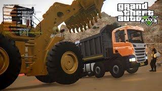 getlinkyoutube.com-GTA 5 IV Map mod online Working on Mine Scania OffRoad Dumper + Worlds Big Wheel Loader