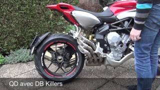 MV Agusta Rivale 800 QD Exhaust avec et sans DB Killer vs Origine