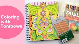 getlinkyoutube.com-Coloring with Tombows | Adult Coloring Page TimeLapse | Tombow Dual Brush pen tutorial