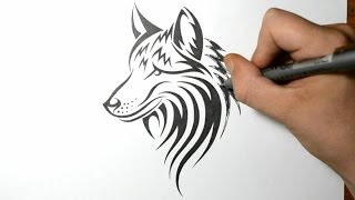 getlinkyoutube.com-How to Draw a Wolf Dog - Tribal Tattoo Design Style