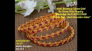 Online E-BOUTIQUE / 1 gm gold daily wear bangles with price