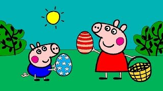 getlinkyoutube.com-Peppa Pig Coloring Pages for Kids ► Peppa Pig Coloring Games ► Peppa and George Easter Coloring Book