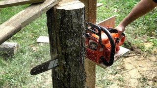 getlinkyoutube.com-Making A Quick and Dirty VERTICAL Chainsaw Mill