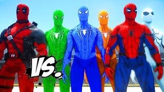 getlinkyoutube.com-DEADPOOL VS SPIDER-MAN, GREEN SPIDERMAN, ORANGE SPIDERMAN, BLUE SPIDERMAN, WHITE SPIDERMAN