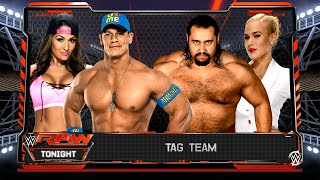 getlinkyoutube.com-John Cena & Nikki Bella VS Rusev & Lana | Intergender Match (WWE 2K16 PC Mods)