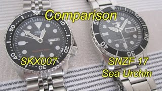getlinkyoutube.com-Seiko SKX007 vs SNZF 17 Sea Urchin - Comparison review