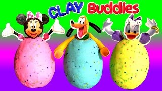 getlinkyoutube.com-Clay Buddies Minnie Surprise Eggs Margarida & Pluto Play-Doh Egg Surprise Minnie's BowTique