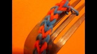 getlinkyoutube.com-Hexafish minus one -  Bracelet  make on a fork - rainbowloom
