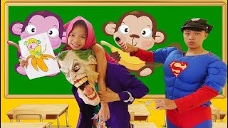 Go To SChool Joker Fake Teacher Kidnap Masha Classroom Fun Superhero Police Rescue Teacher Fun L HD