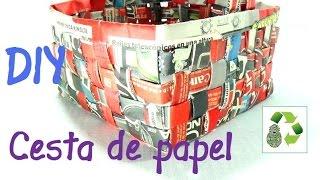 getlinkyoutube.com-8. Manualidades: Como hacer cesta con papel periódico (Reciclaje) Ecobrisa