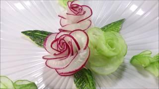 getlinkyoutube.com-Red Radish Rose Carving Garnish - How To Make Radish Flower