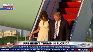 PRESIDENT TRUMP BUMPS Melania Walking Down Air Force One In Florida