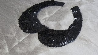 Cuello Peter Pan DIY lentejuelas negro/ How to make Peter Pan Necklace with sequin