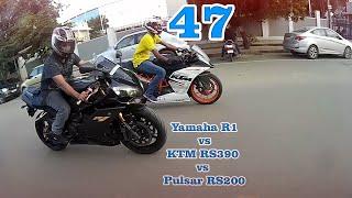 getlinkyoutube.com-Yamaha R1 vs KTM RC390 vs Pulsar RS200