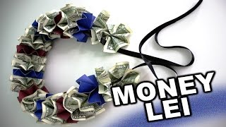 getlinkyoutube.com-How to make a money lei for graduation with school colors