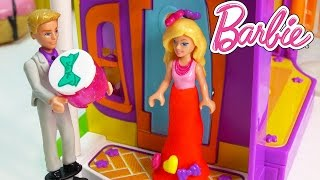 getlinkyoutube.com-Barbie Ken Valentines Day Dinner Playdoh Dress Dressup Playing Fun Mega Bloks Playset Mini Dolls