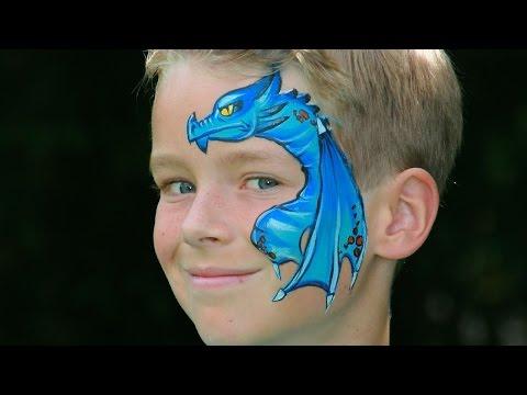 Einen Drachen schminken / Drachengesicht Kinderschminken Vorlage für Halloween