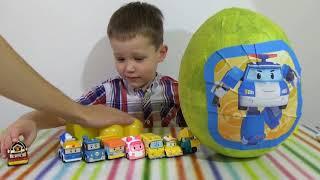 getlinkyoutube.com-Поли Робокар огромное яйцо с сюрпризом открываем игрушки Mega big surprise egg Poli Robocar toys
