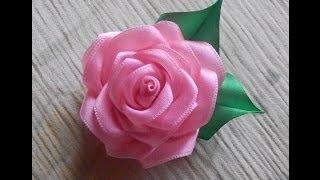 getlinkyoutube.com-Цветы из ткани. Как сделать розу из атласной ленты.DIY Rose