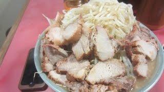 getlinkyoutube.com-ラーメン二郎 歌舞伎町店の大盛りチャーシューダブル+野菜増し増し