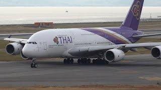 getlinkyoutube.com-Thai Airways International Airbus A380 HS-TUD Takeoff from KIX 24L