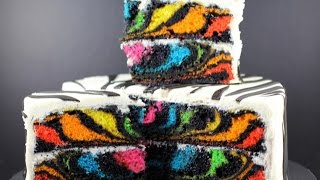 getlinkyoutube.com-RAINBOW ZEBRA CAKE | How to Make a Surprise Inside Zebra Cake | My Cupcake Addiction