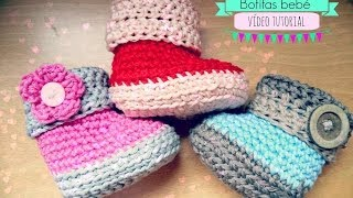 getlinkyoutube.com-Como hacer unas botitas de bebé de ganchillo - Crochet baby Booties