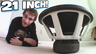 "getlinkyoutube.com-21"" Subwoofers ARE HUGE!!! Un-Boxing B2 XM21 Subwoofer & How To Test Amp Wattage w/ Clamp Multimeter"