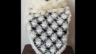 getlinkyoutube.com-Crochet : Punto Esponjoso y Salomon. Chal en V.  Parte 1 de 2
