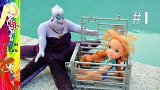 getlinkyoutube.com-Anna and Elsa Toddlers Swimming Pool! Annya Captured by Ursula the Sea Witch Ariel Barbie Mermaids