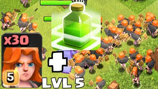 getlinkyoutube.com-Clash of clans - VALKYRIE LVL 5 W/ JUMP SPELLS Vs. TH11  (New Update Changes and Level)