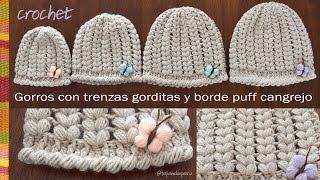 getlinkyoutube.com-Gorros con trenzas gorditas y borde cangrejo puff tejidos a crochet... todas las tallas!