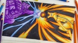 getlinkyoutube.com-Speed Drawing - Final battle Kurama vs Susanoo (Naruto Vs Sasuke) [HD]