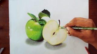 getlinkyoutube.com-Drawing Green apples - Prismacolor pencils