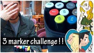 getlinkyoutube.com-3 MARKER CHALLENGE IN A CAFE | Doodle Date