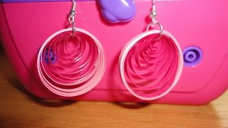getlinkyoutube.com-How To Make Paper Quilling Earrings - Pink