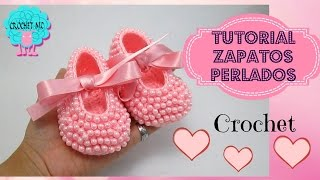 getlinkyoutube.com-Zapatos perlados para bebé a crochet- todas las tallas