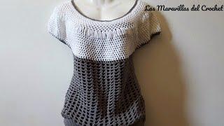 getlinkyoutube.com-👩Blusa en crochet con puntos básicos #1.