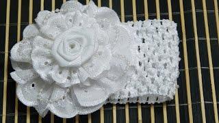getlinkyoutube.com-Como Hacer Balaca para bautizo o primera comunión, con encaje de tela y flores,  Accesorios cabello