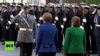 getlinkyoutube.com-Germany: Watch the German Army salute Merkel and Chilean leader