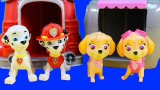 getlinkyoutube.com-Paw Patrol Rubble's Digging Bulldozer And Marshall Pup To The Hero Playset