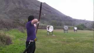 getlinkyoutube.com-Shooting the Finished 80 Pound PVC Longbow