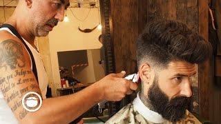 getlinkyoutube.com-Natural Pompadour with Skin Fade Hair Cut | Carlos Costa