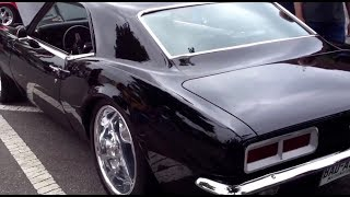 getlinkyoutube.com-Must see! Bad ass custom black tubbed pro touring 1968 Camaro with 18x10 and 20x20 inch wheels!