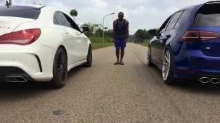getlinkyoutube.com-Mercedes CLA AMG Vs Vw Golf 7R - Drag test1/8 miles