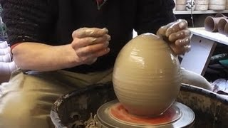 getlinkyoutube.com-Making / Throwing a Giant Pottery Easter Egg on the wheel