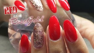 getlinkyoutube.com-Rose-gold and Red Nail Design