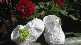 getlinkyoutube.com-Escarpínes de bebe con correa en crochet - Instrucción zapatitos de BerlinCrochet - Parte1, Suela