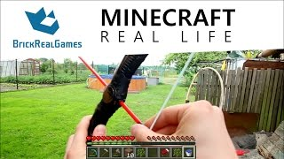 getlinkyoutube.com-Minecraft Real Life - How to make Bow - BrickRealGames